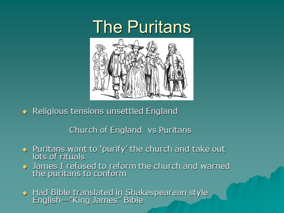Church of England vs Puritans