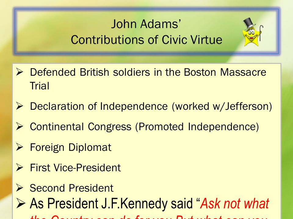 John Adams' Contributions of Civic Virtue