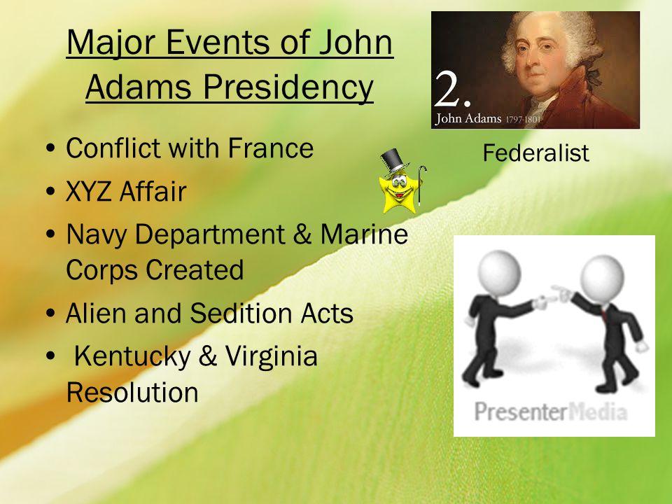 Major Events of John Adams Presidency