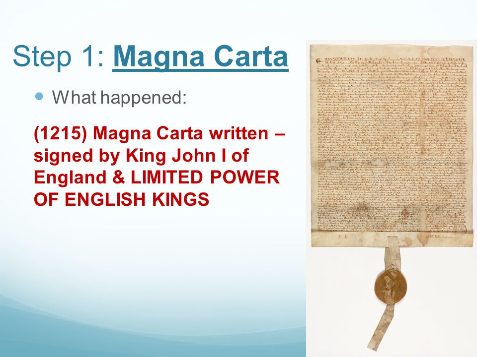 Step 1: Magna Carta What happened: