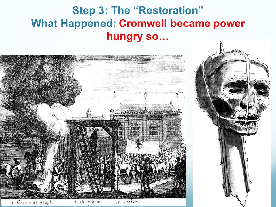 Step 3: The Restoration What Happened: Cromwell became power hungry so…