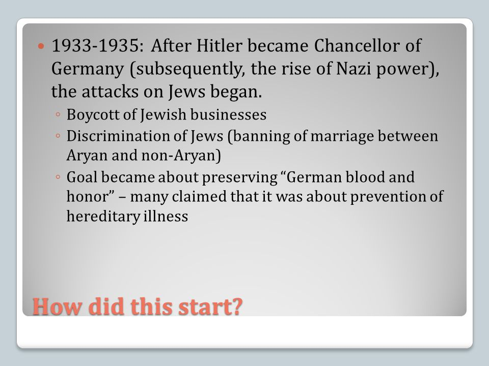 1933-1935: After Hitler became Chancellor of Germany (subsequently, the rise of Nazi power), the attacks on Jews began.