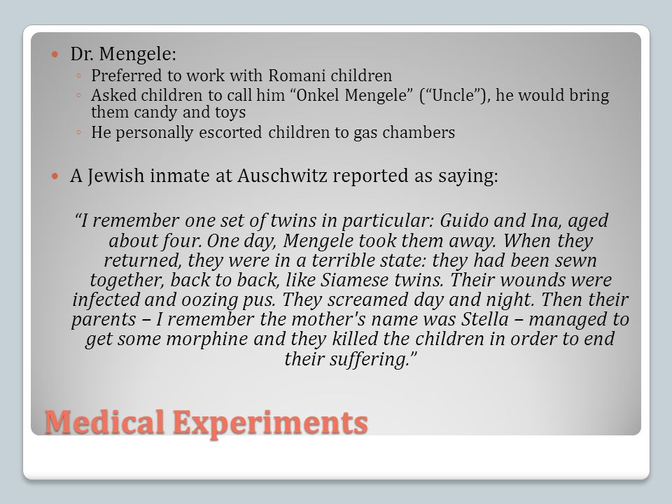 Medical Experiments Dr. Mengele: