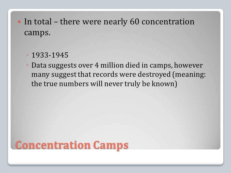In total – there were nearly 60 concentration camps.