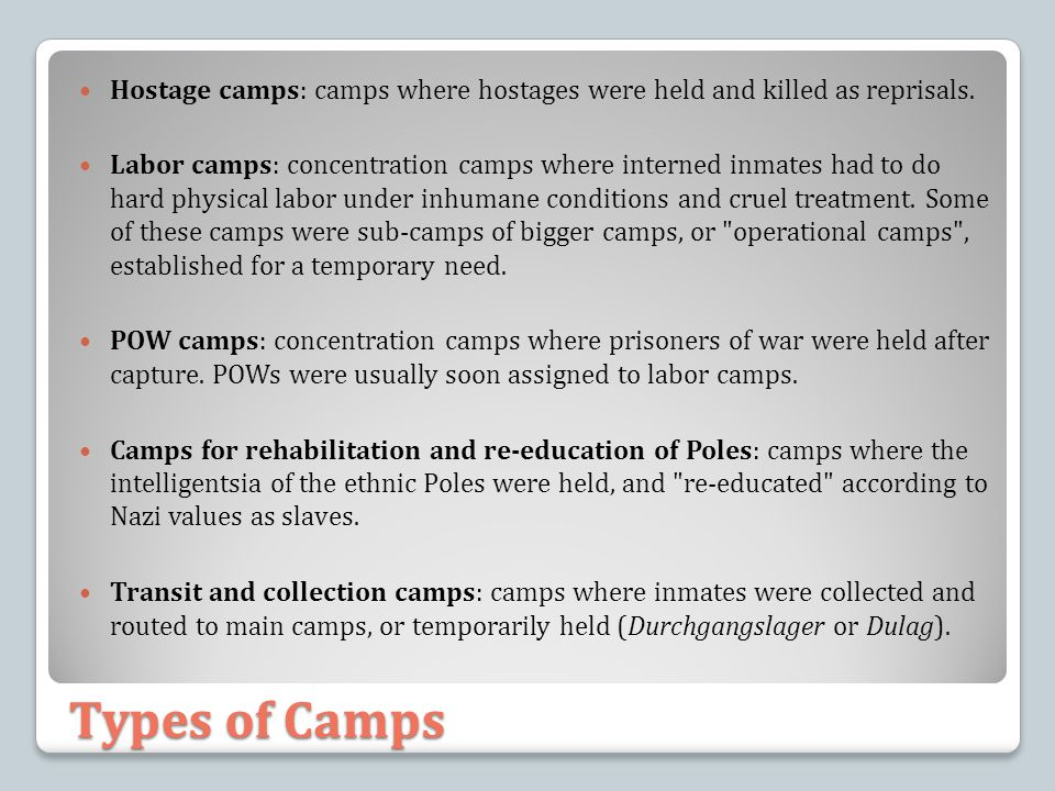 Hostage camps: camps where hostages were held and killed as reprisals.