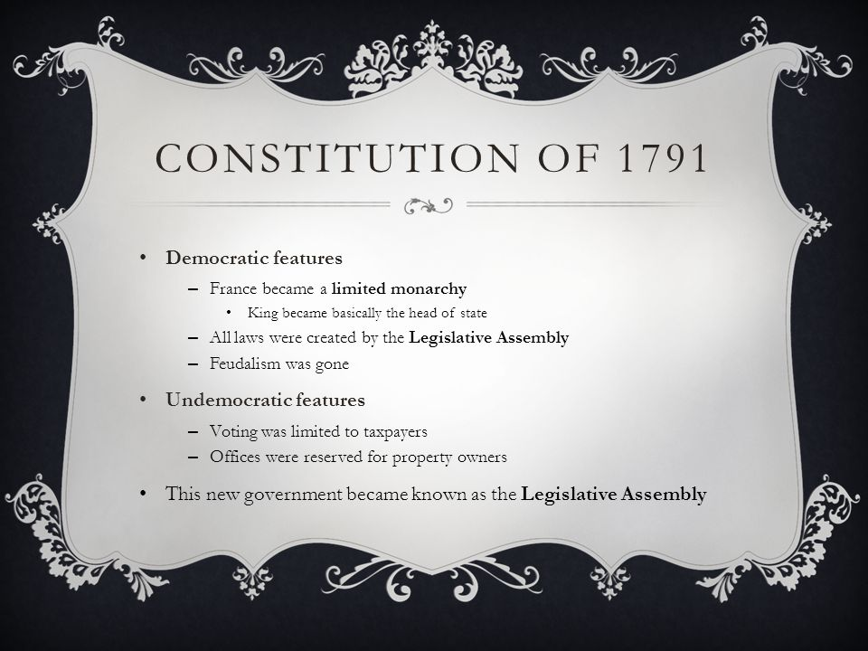 Constitution of 1791 Democratic features Undemocratic features
