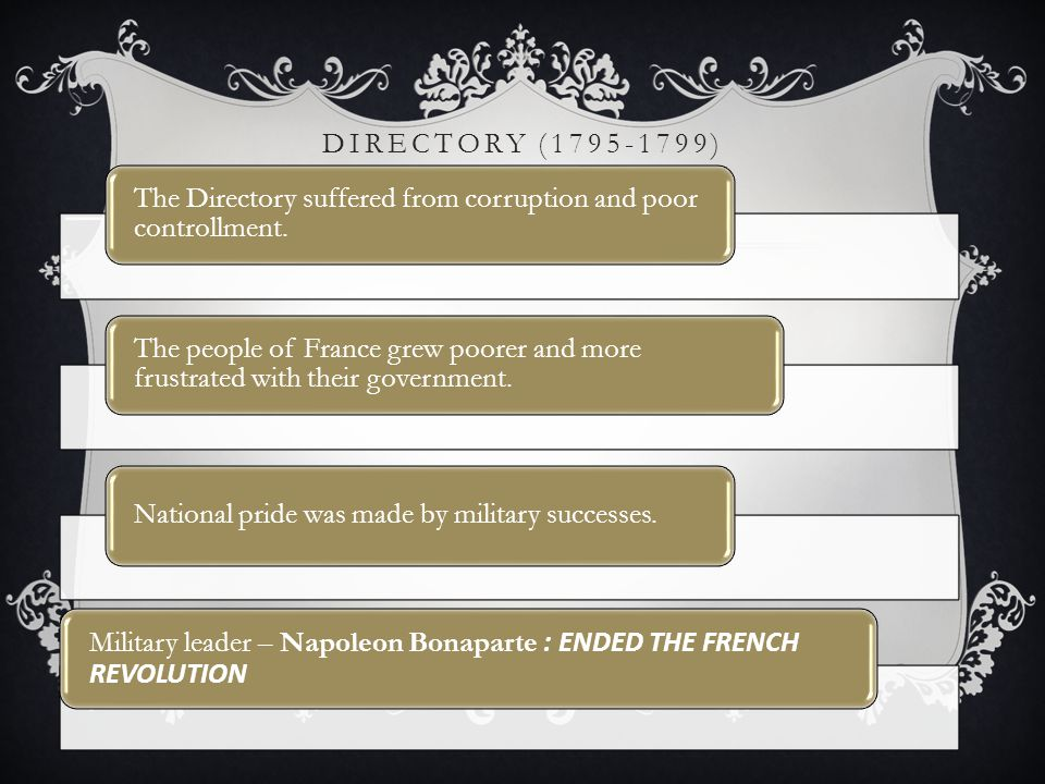 Directory (1795-1799) The Directory suffered from corruption and poor controllment.