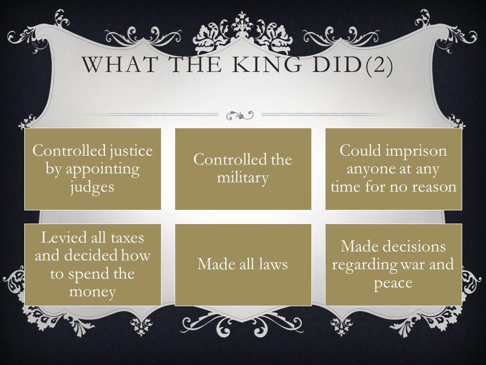 What the King Did(2) Controlled justice by appointing judges
