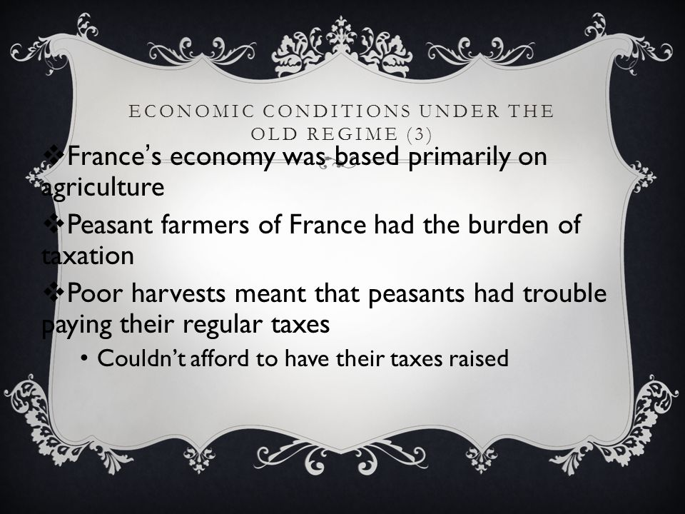 Economic Conditions under the Old Regime (3)