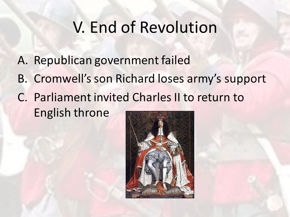 V. End of Revolution Republican government failed