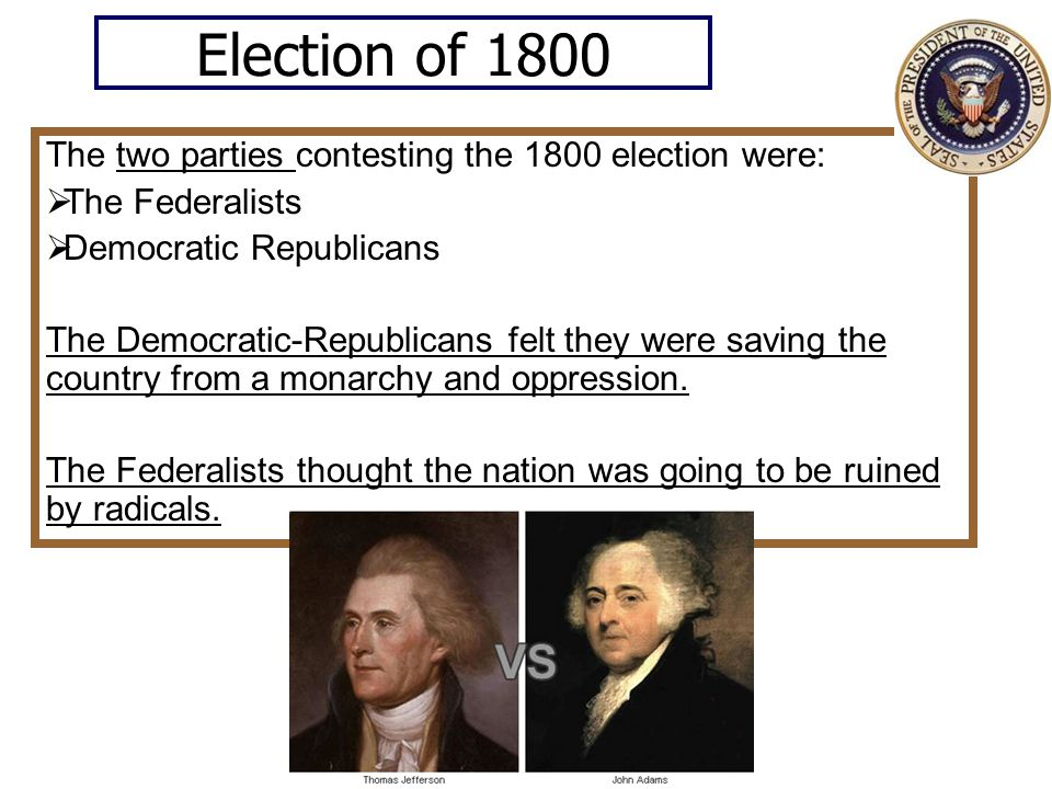 Election of 1800 The two parties contesting the 1800 election were: