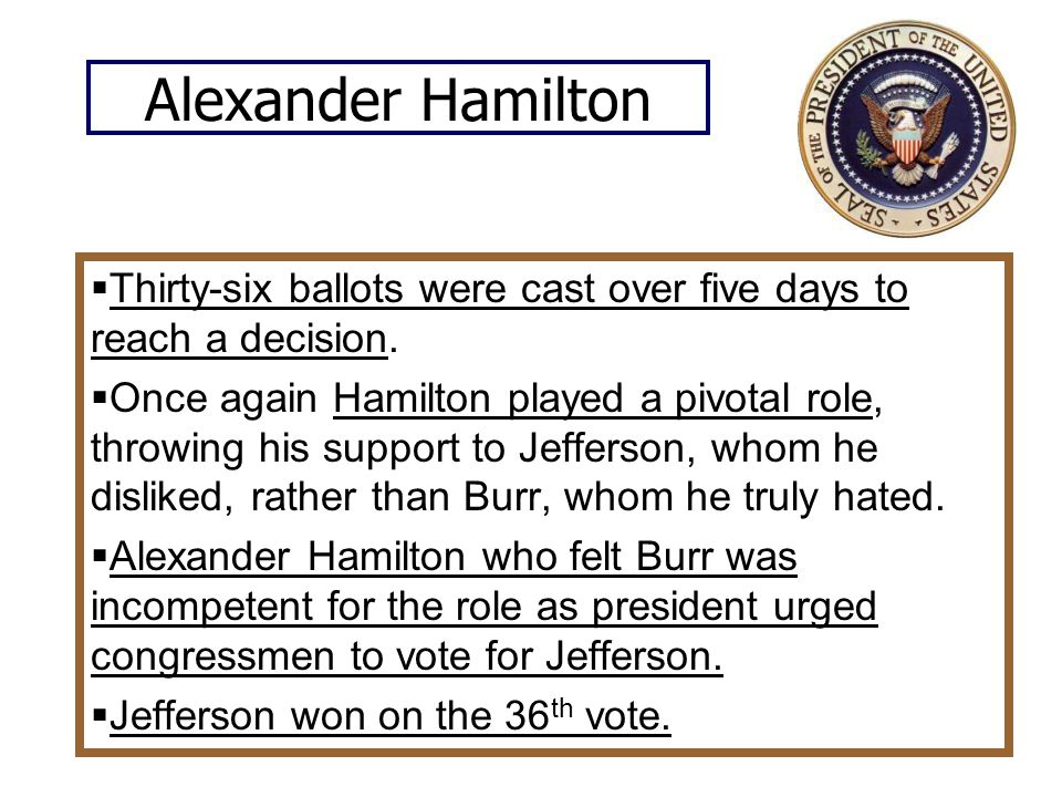 Alexander Hamilton Thirty-six ballots were cast over five days to reach a decision.