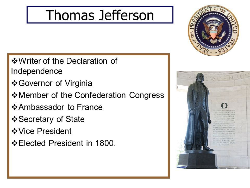 Thomas Jefferson Writer of the Declaration of Independence