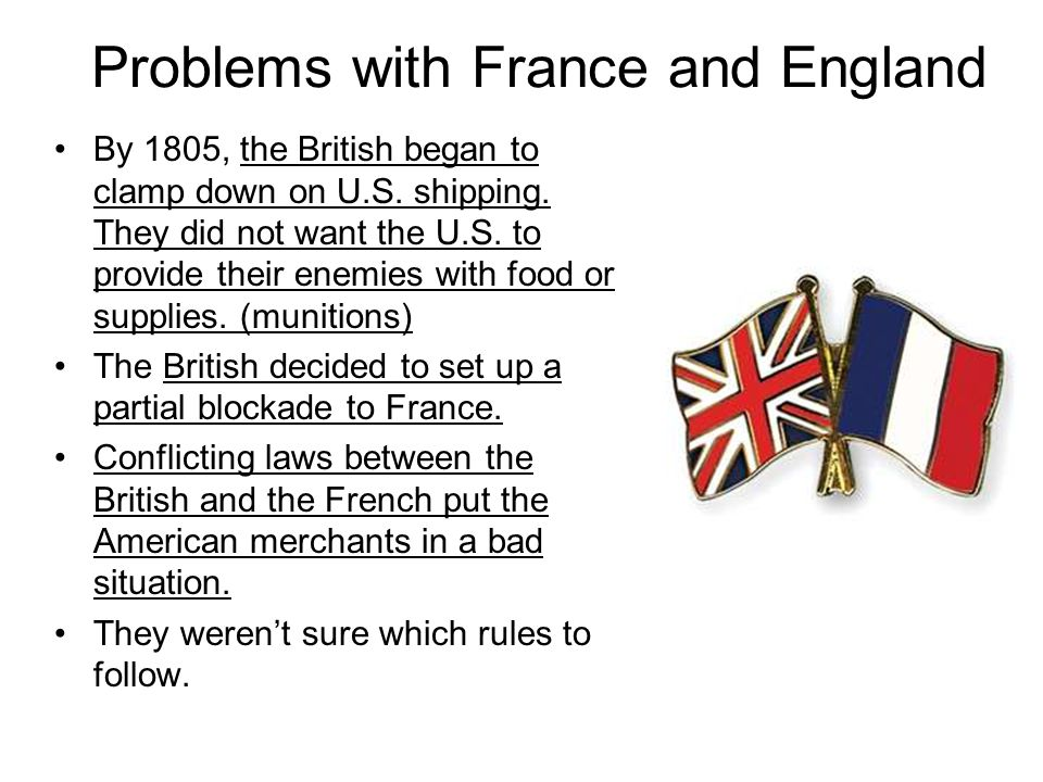 Problems with France and England