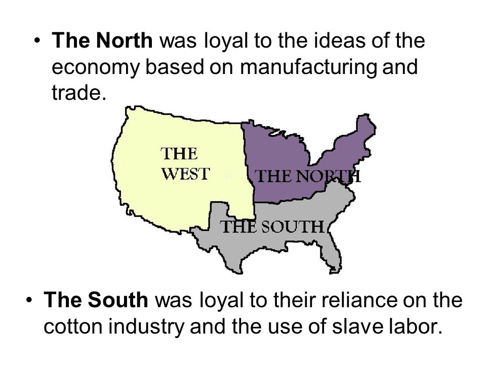 The North was loyal to the ideas of the economy based on manufacturing and trade.