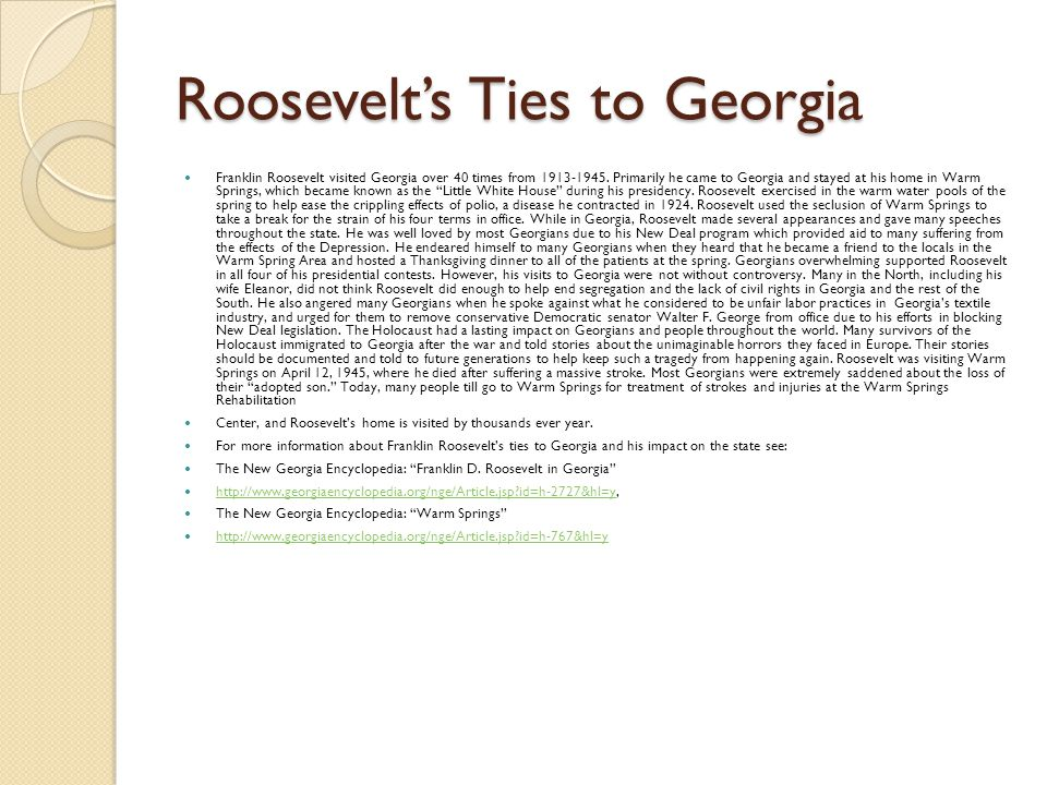 Roosevelt's Ties to Georgia