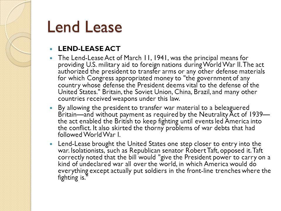 Lend Lease LEND-LEASE ACT