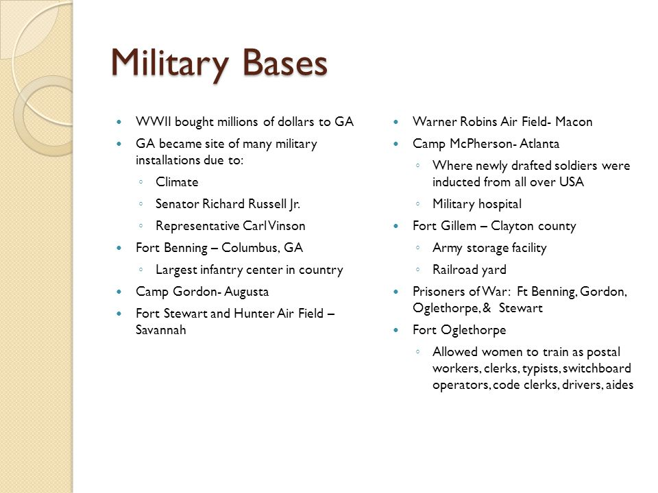 Military Bases WWII bought millions of dollars to GA