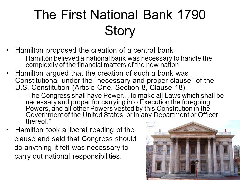 The First National Bank 1790 Story