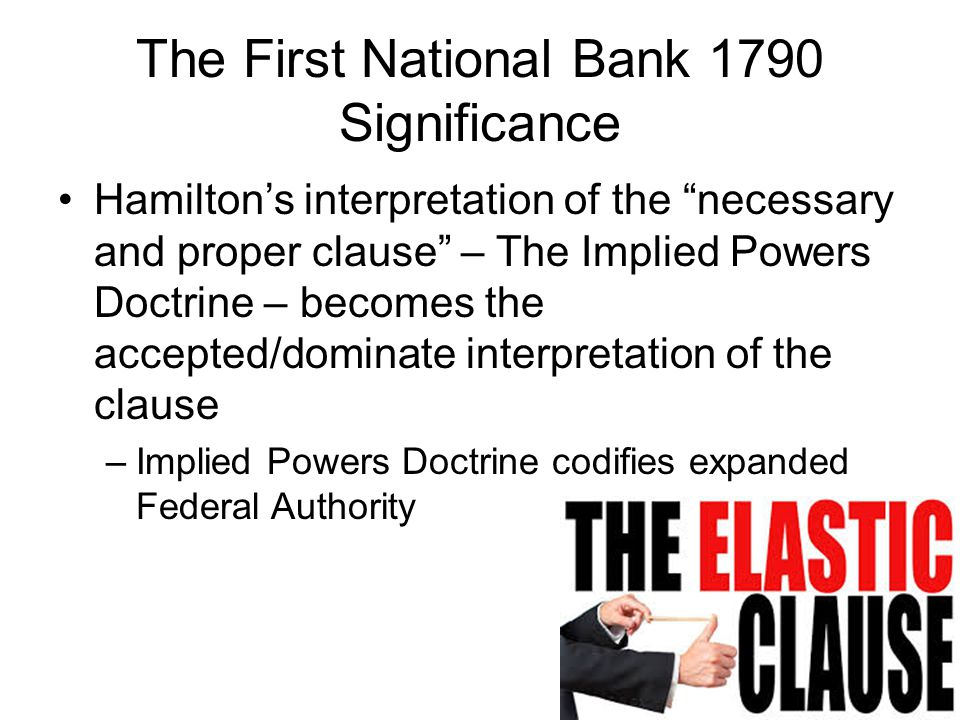 The First National Bank 1790 Significance