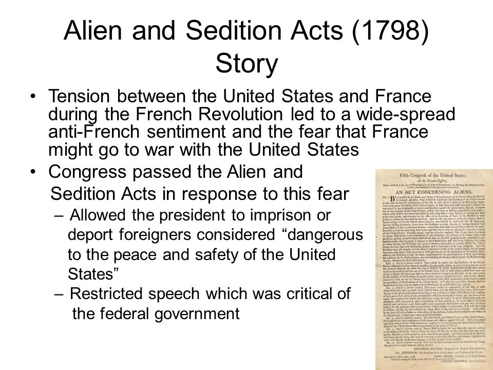 Alien and Sedition Acts (1798) Story