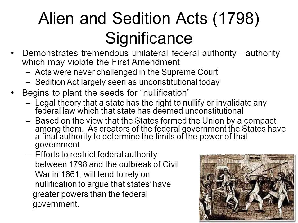 Alien and Sedition Acts (1798) Significance