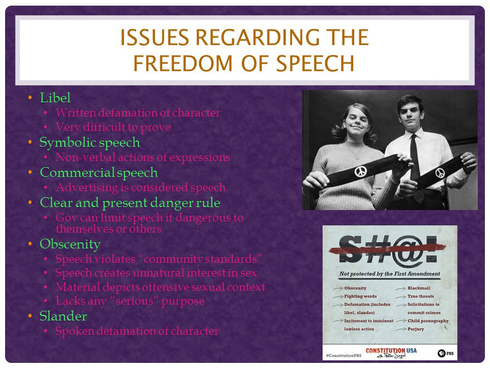 Issues regarding the freedom of Speech