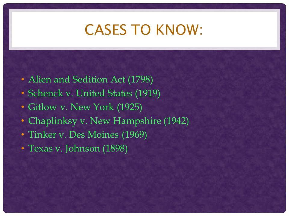 Cases to Know: Alien and Sedition Act (1798)