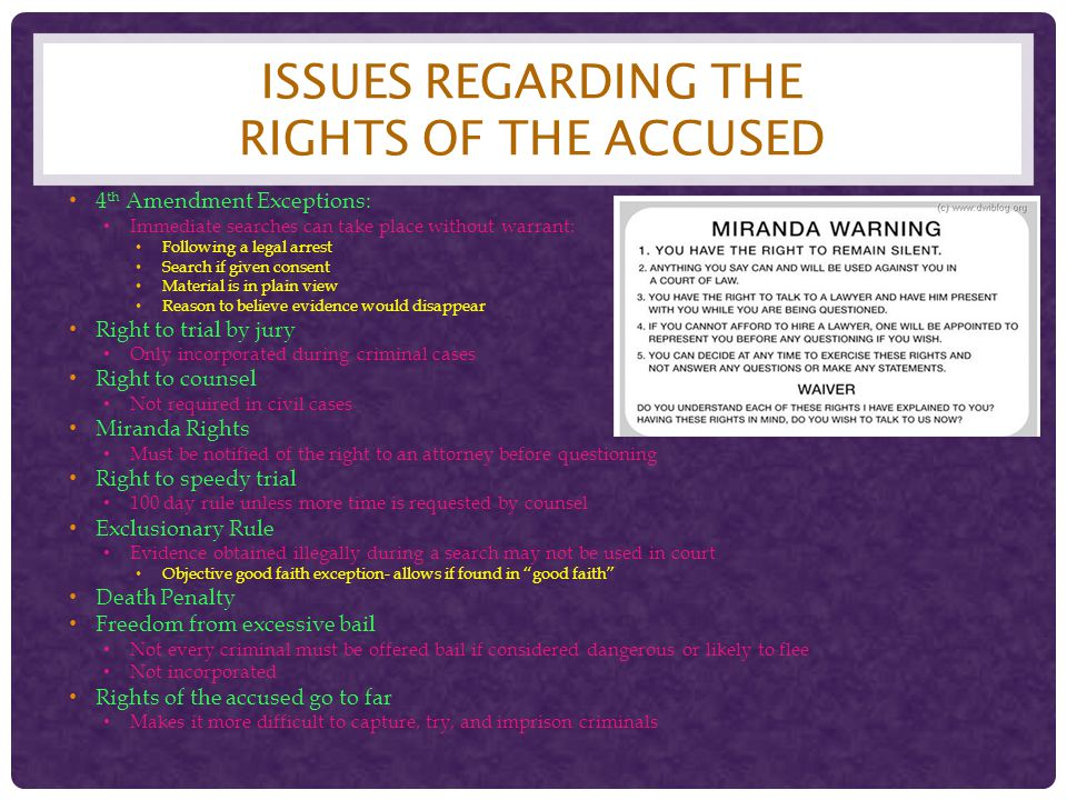 Issues regarding the rights of the accused