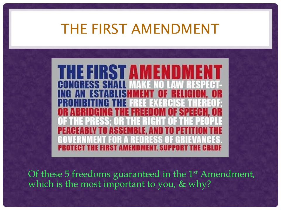 The first amendment Of these 5 freedoms guaranteed in the 1st Amendment, which is the most important to you, & why