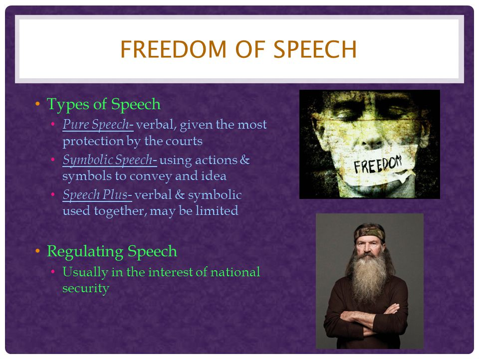 Freedom of Speech Types of Speech Regulating Speech