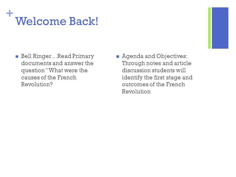 Welcome Back! Bell Ringer…Read Primary documents and answer the question What were the causes of the French Revolution