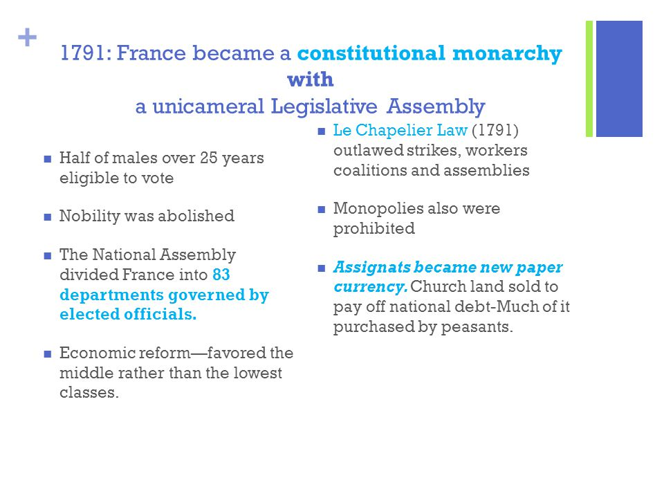 1791: France became a constitutional monarchy with a unicameral Legislative Assembly