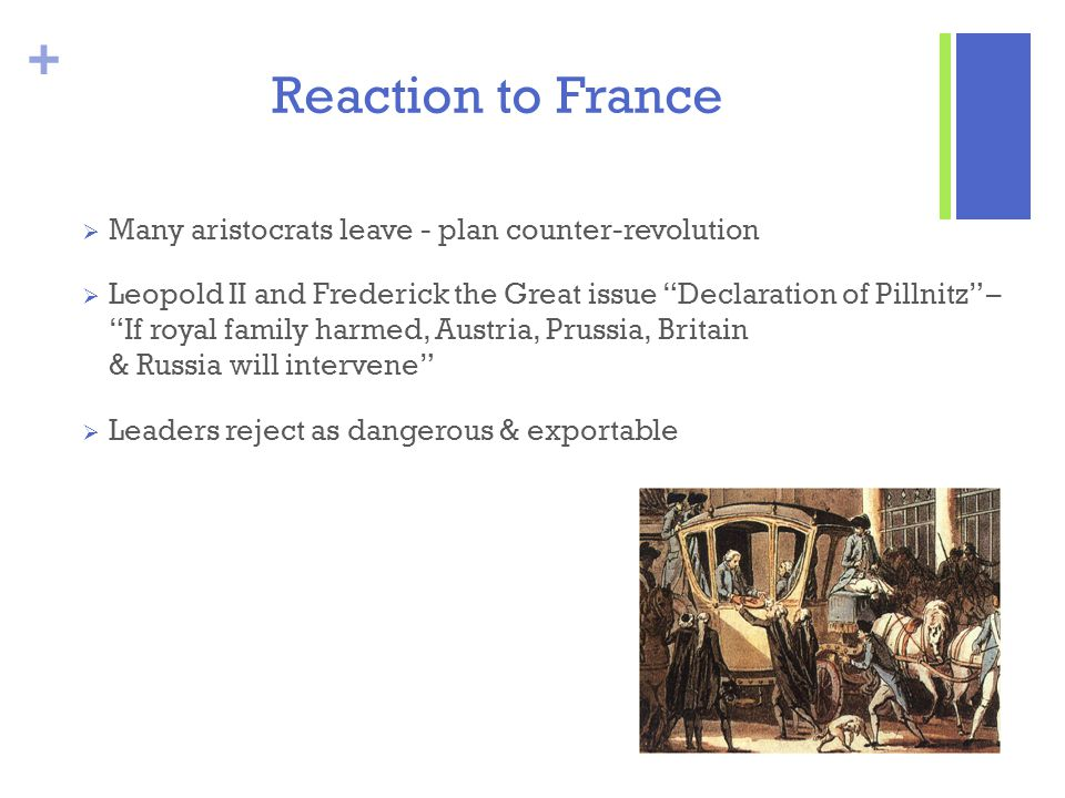 Reaction to France Many aristocrats leave - plan counter-revolution