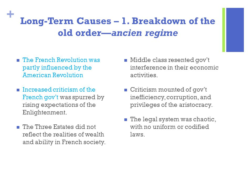 Long-Term Causes – 1. Breakdown of the old order—ancien regime