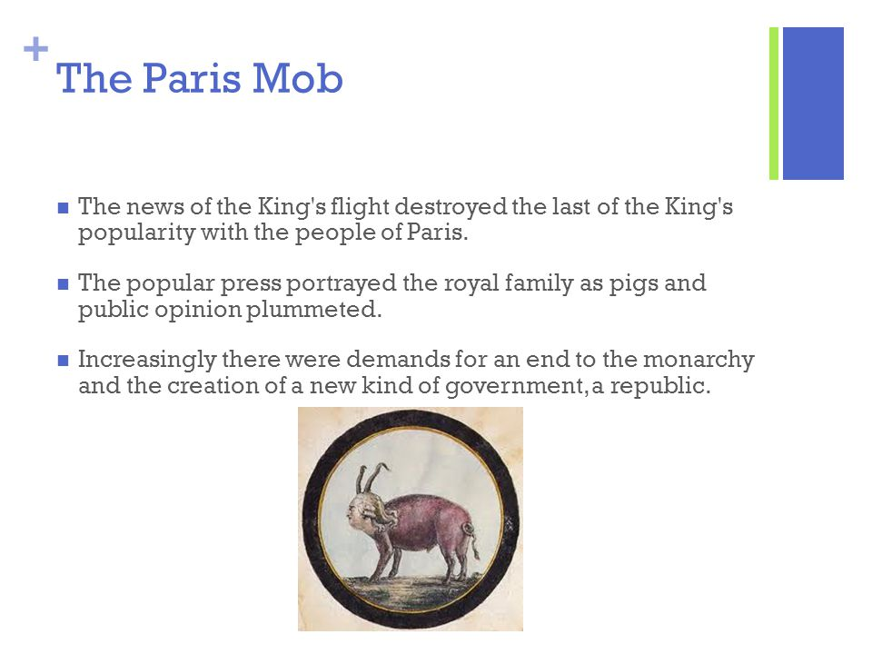 The Paris Mob The news of the King s flight destroyed the last of the King s popularity with the people of Paris.