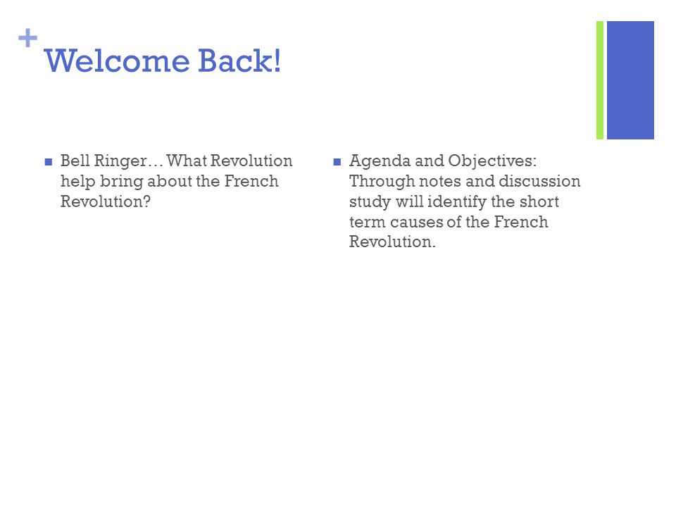 Welcome Back! Bell Ringer… What Revolution help bring about the French Revolution