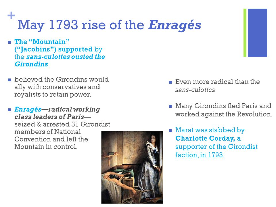 May 1793 rise of the Enragés The Mountain ( Jacobins ) supported by the sans-culottes ousted the Girondins.