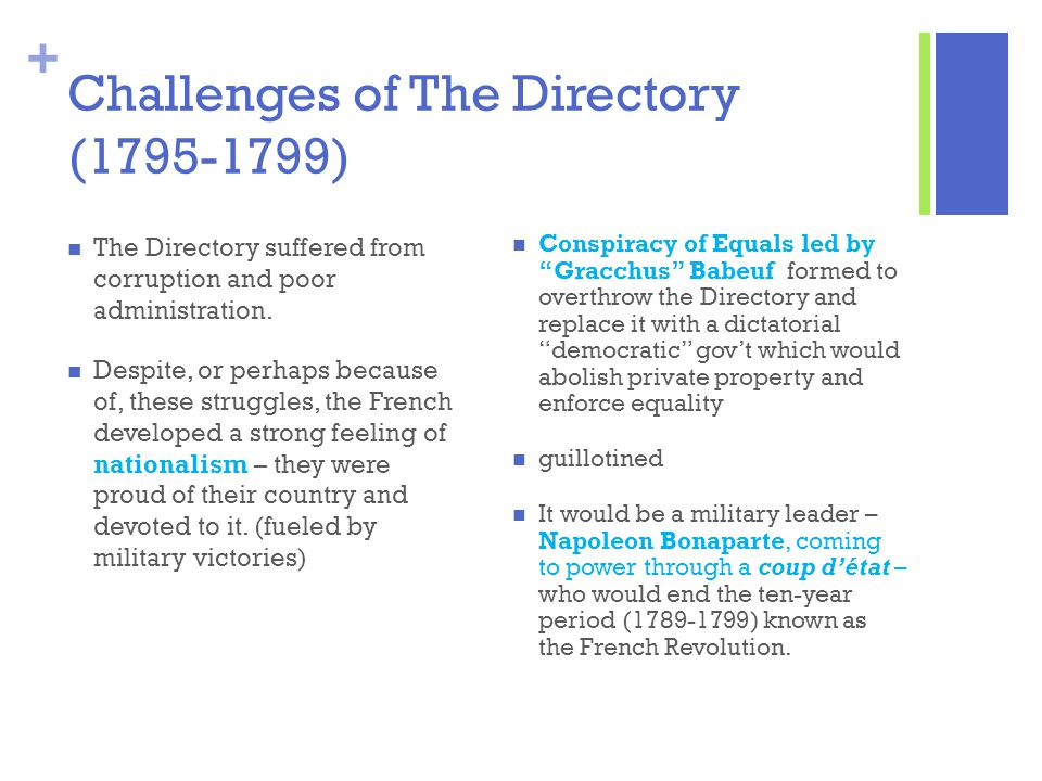 Challenges of The Directory (1795-1799)