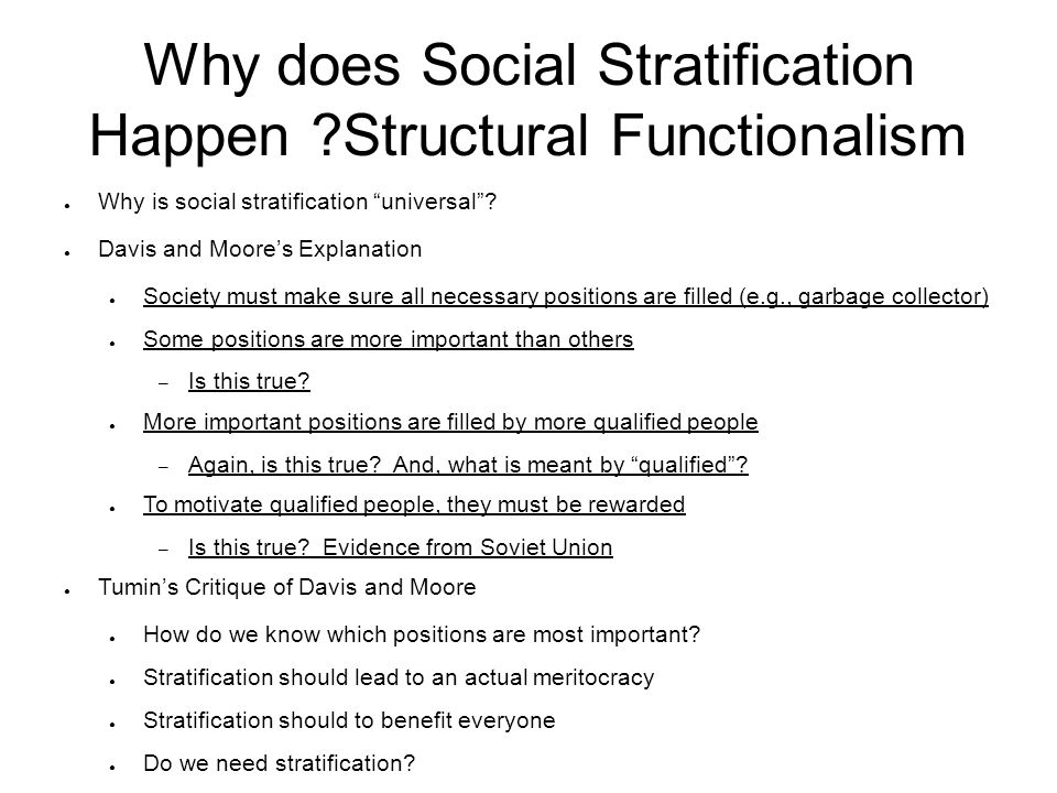 Why does Social Stratification Happen Structural Functionalism