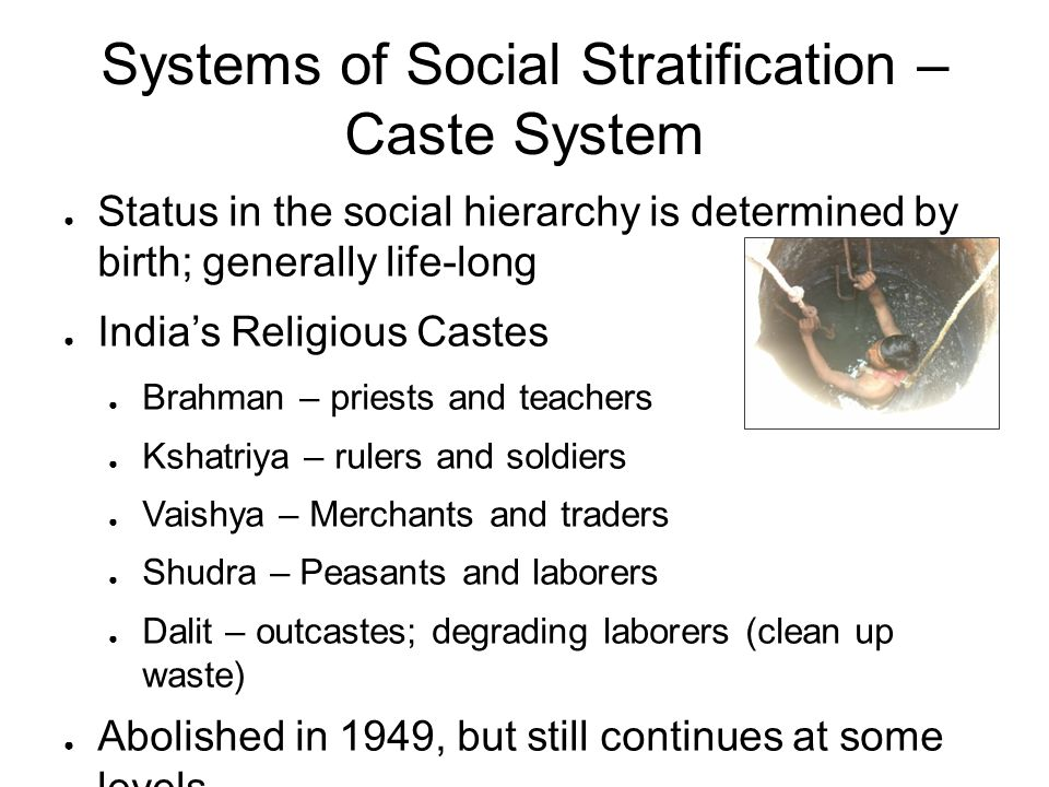 Systems of Social Stratification – Caste System