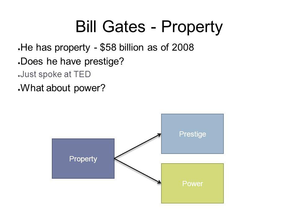 Bill Gates - Property He has property - $58 billion as of 2008