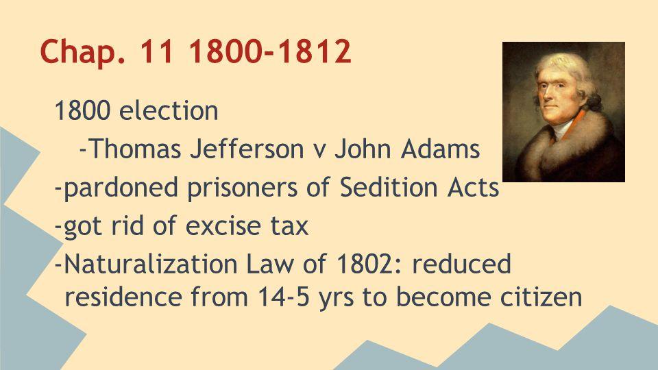Chap. 11 1800-1812 1800 election -Thomas Jefferson v John Adams