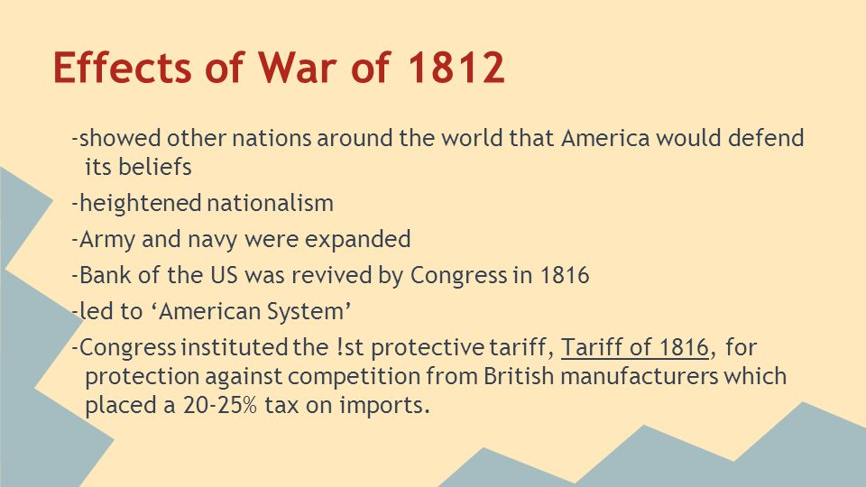 Effects of War of 1812 -showed other nations around the world that America would defend its beliefs.