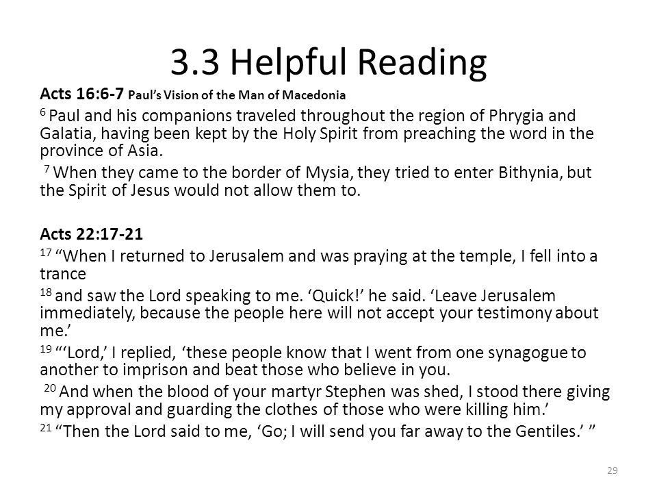 3.3 Helpful Reading Acts 16:6-7 Paul's Vision of the Man of Macedonia
