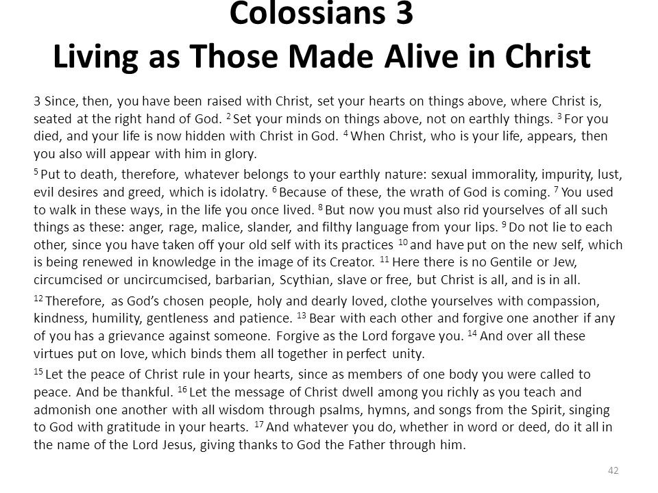 Colossians 3 Living as Those Made Alive in Christ