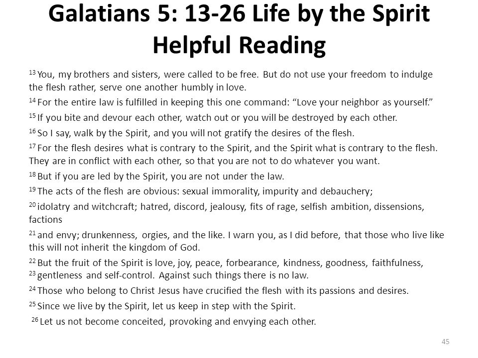 Galatians 5: 13-26 Life by the Spirit Helpful Reading