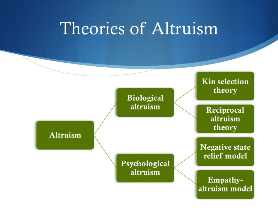 Theories of Altruism Altruism Biological altruism Kin selection theory
