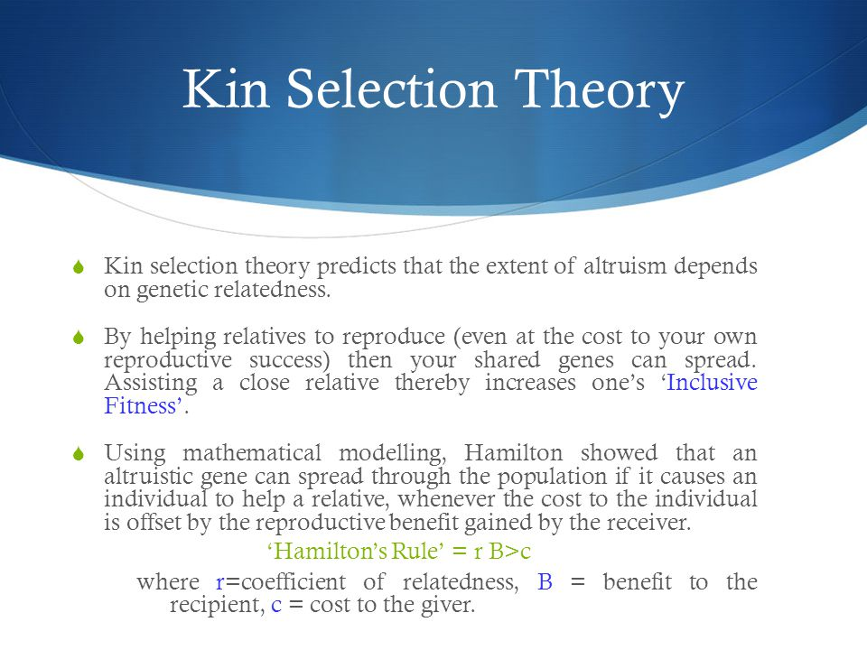 Kin Selection Theory Kin selection theory predicts that the extent of altruism depends on genetic relatedness.