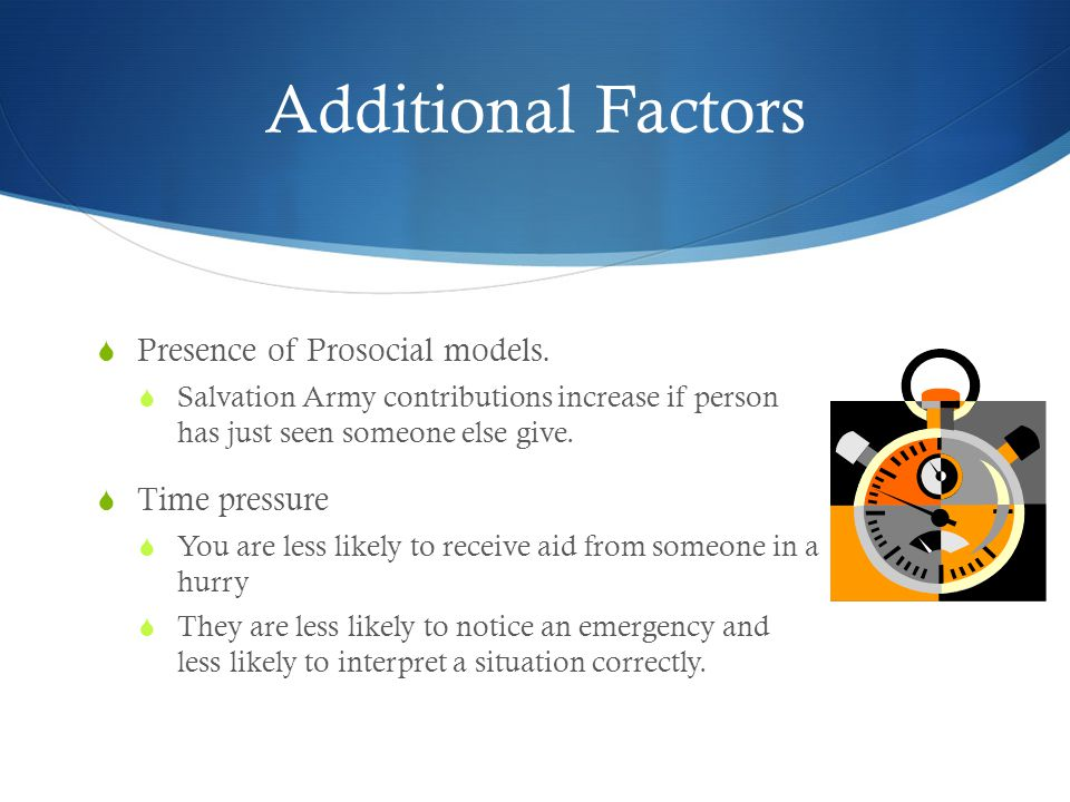Additional Factors Presence of Prosocial models. Time pressure